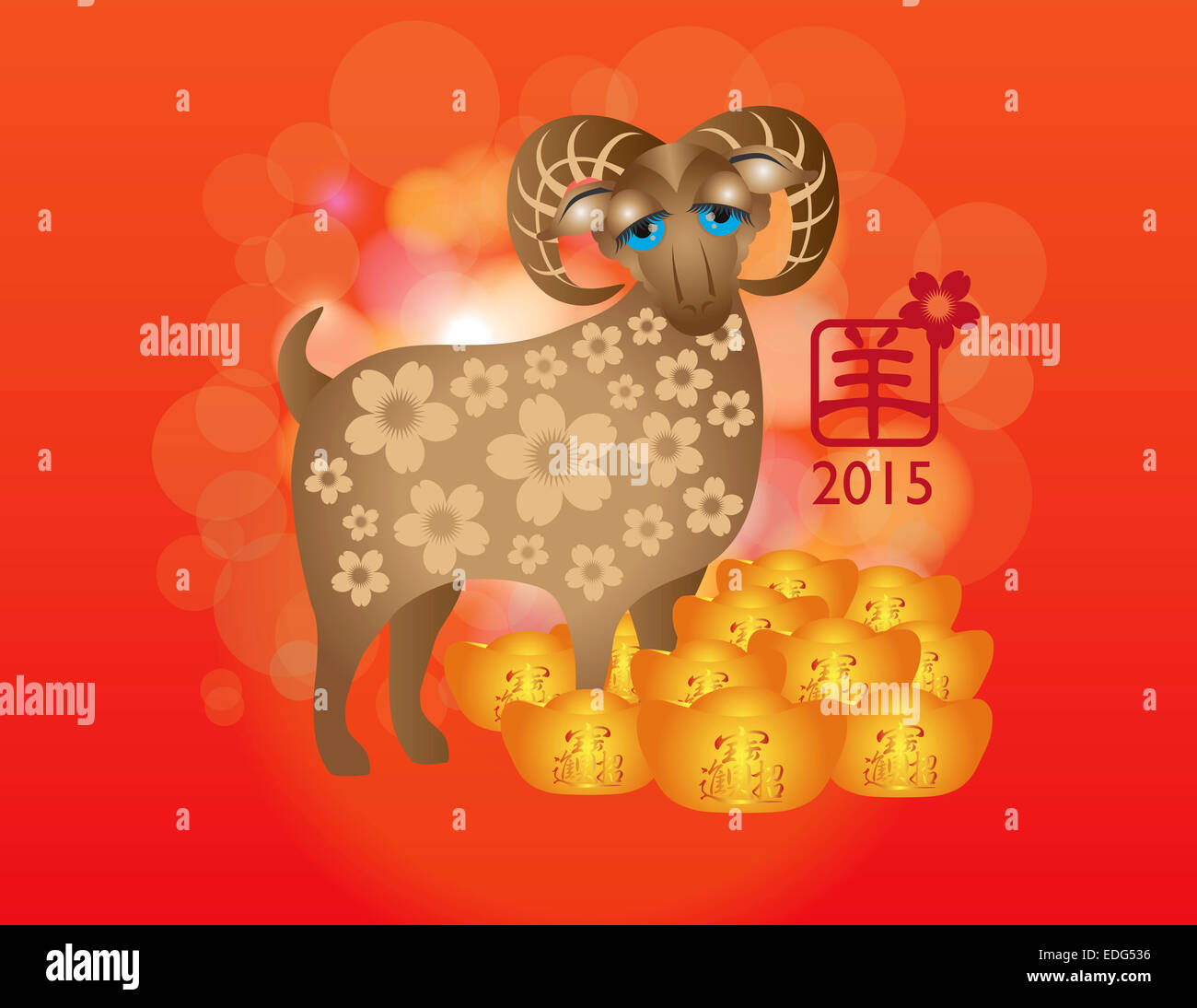2015 Chinese New Year Of The Ram On Red Blurred Bokeh Background With Text Symbol Goat And Good Luck Pile Gold