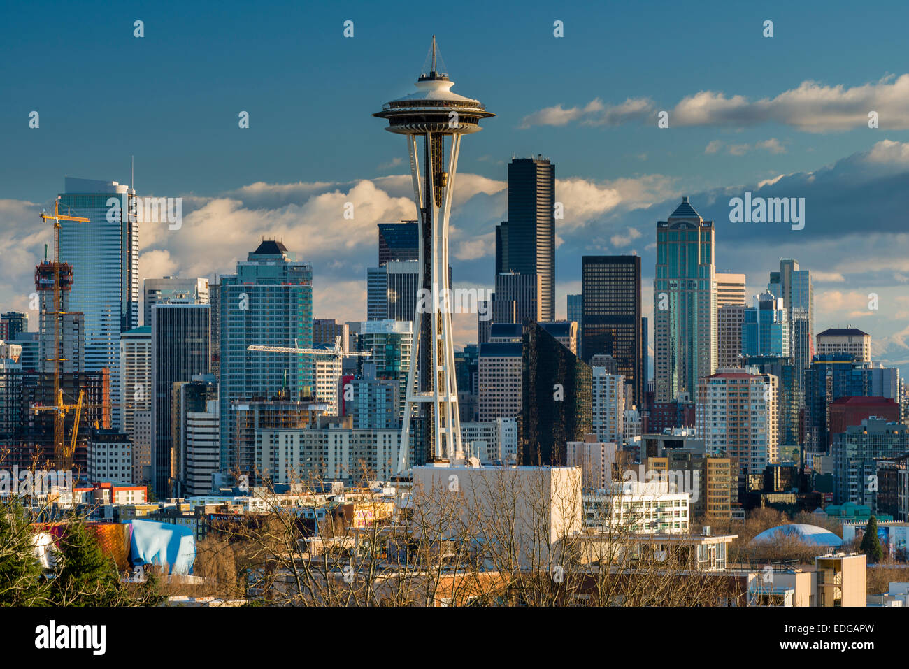 Downtown skyline with Space Needle, Seattle, Washington, USA - Stock Image