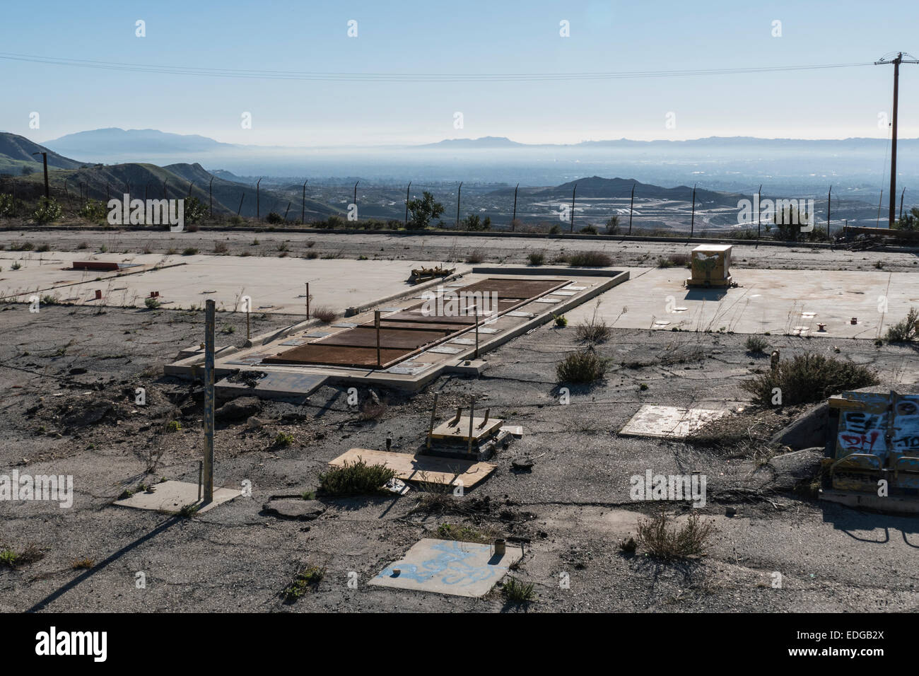 Los Angeles, California, USA - January 2, 2014:  Abandoned Nike missile silo above the San Fernando Valley area - Stock Image