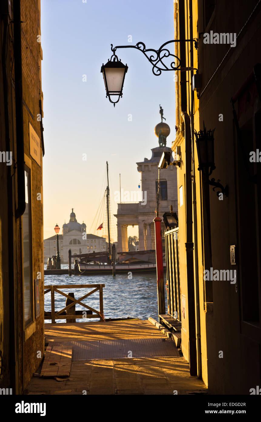 Sunrise in Venice at canal near Academia bridge - Stock Image