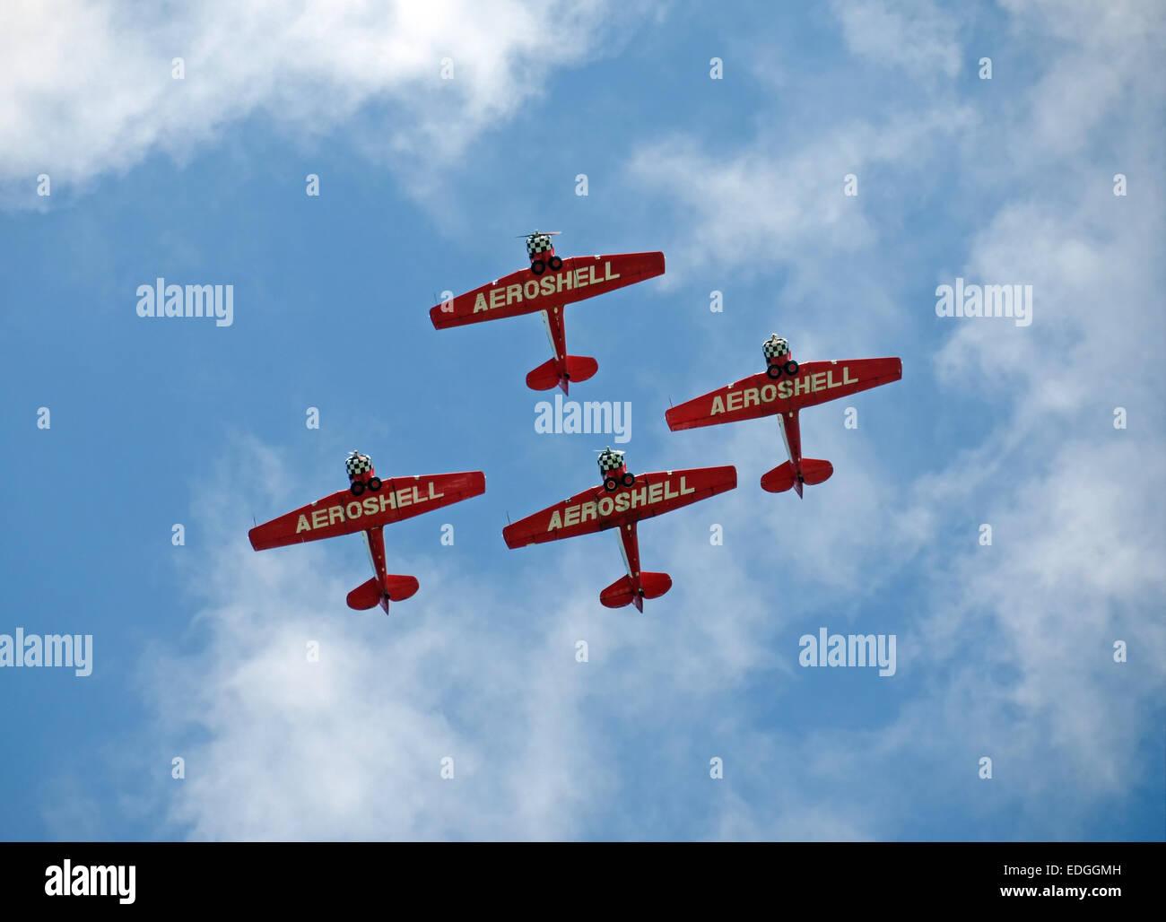 Stuart, USA - November 1, 2013: Members of the Aeroshell Aerobatic Team pass over Stuart, Florida on the way to - Stock Image