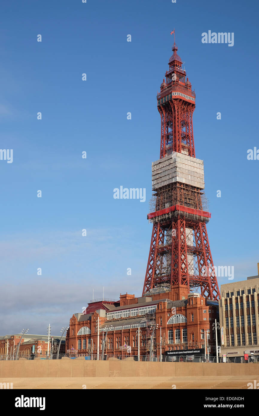 Blackpool Tower with maintenance work ongoing - Stock Image