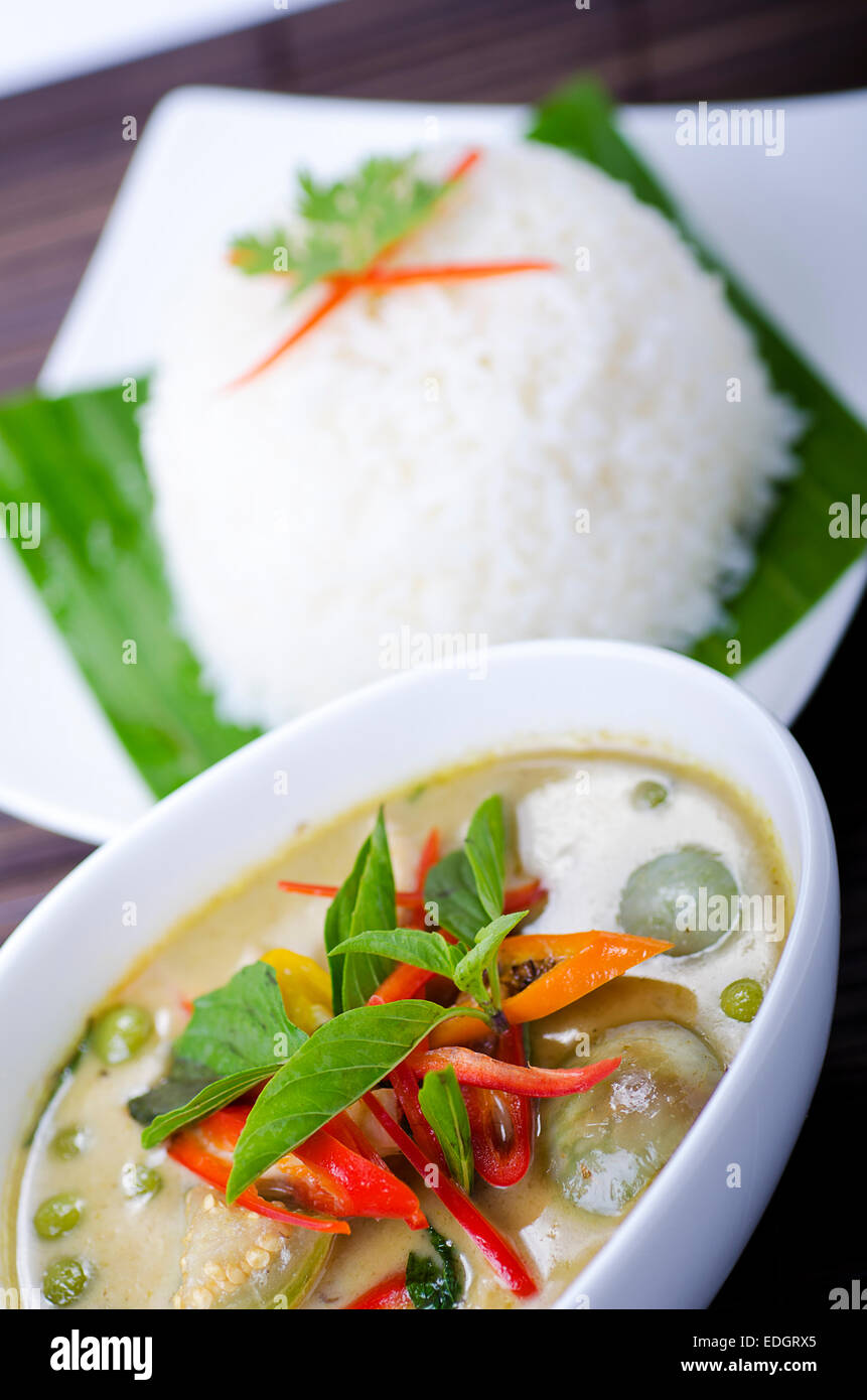 Thai Gang Kiew Wan green curry with rice - Stock Image