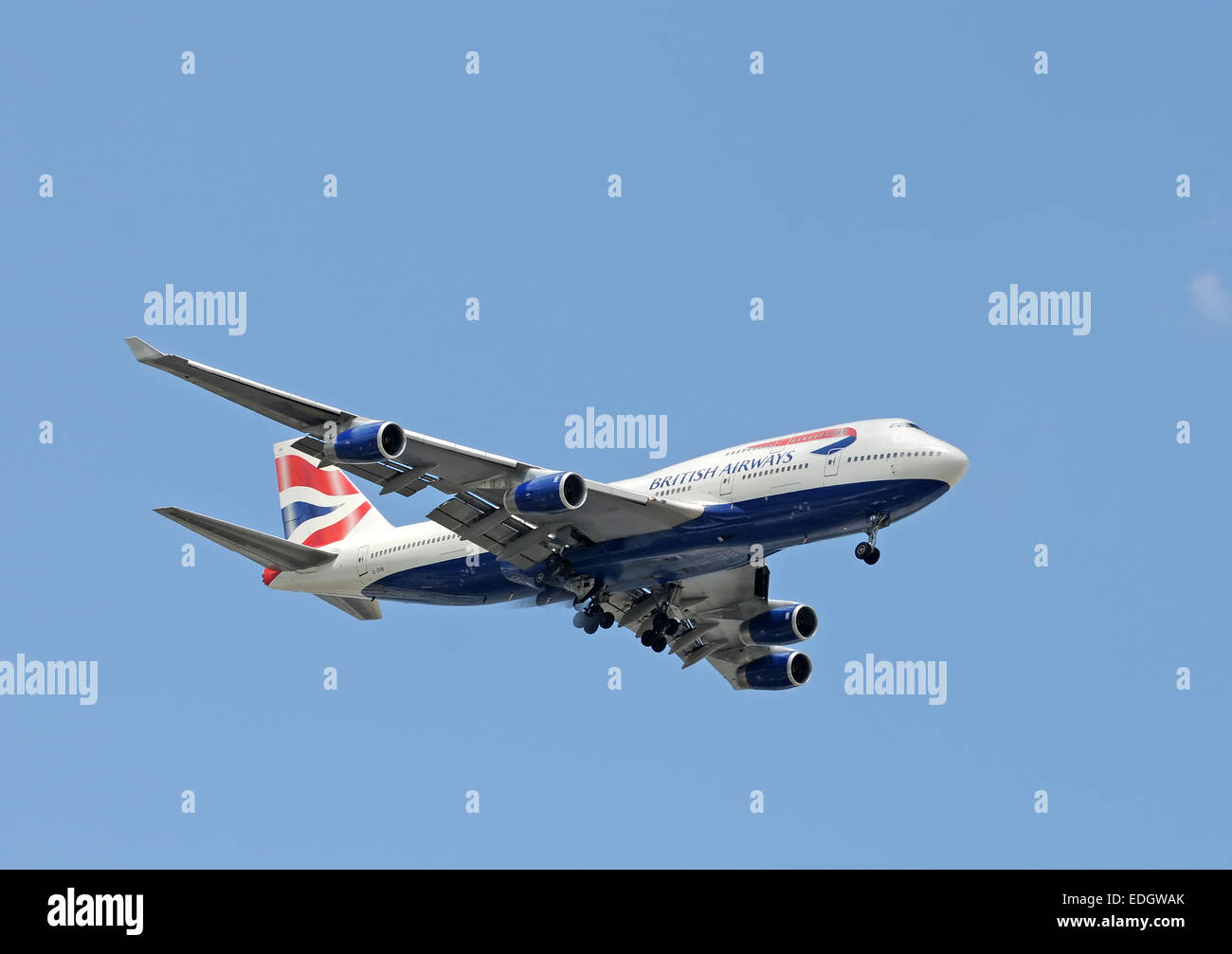 Miami, USA - September 6, 2008: British Airways Boeing 747 jumbo jet arrives in Miami after a flight from London. Stock Photo