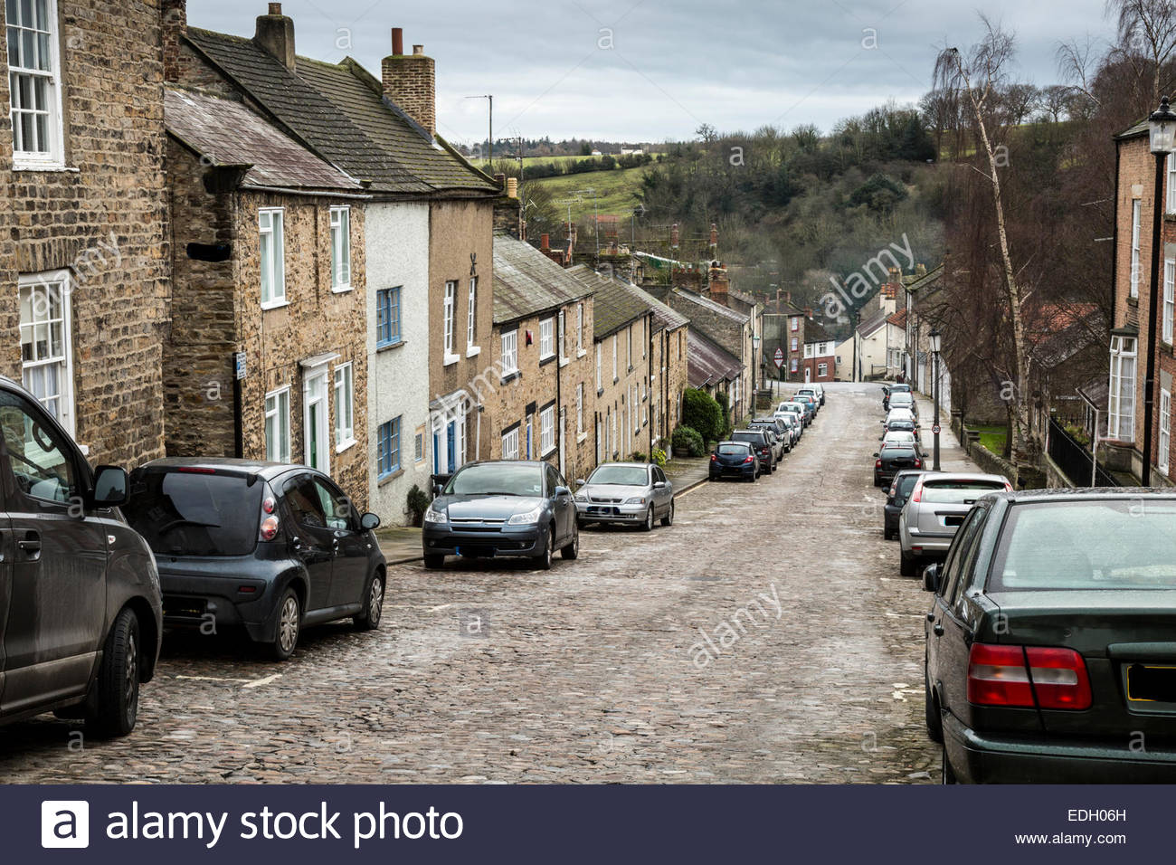 Steep,cobbled street, in Richmond, Yorkshire - Stock Image