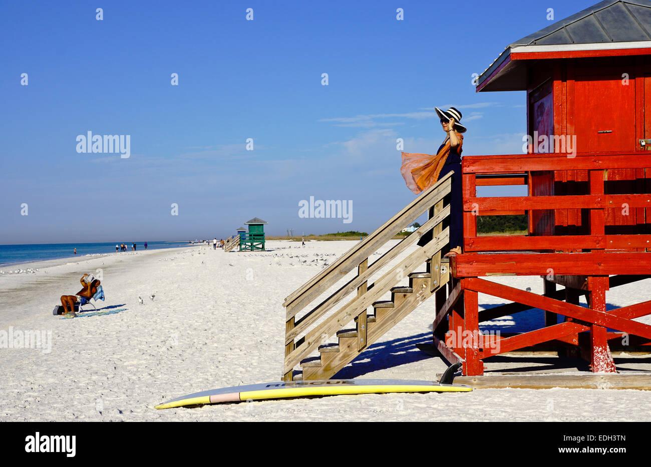 Siesta Key Beach lifeguard tower in Sarasota, Florida. - Stock Image