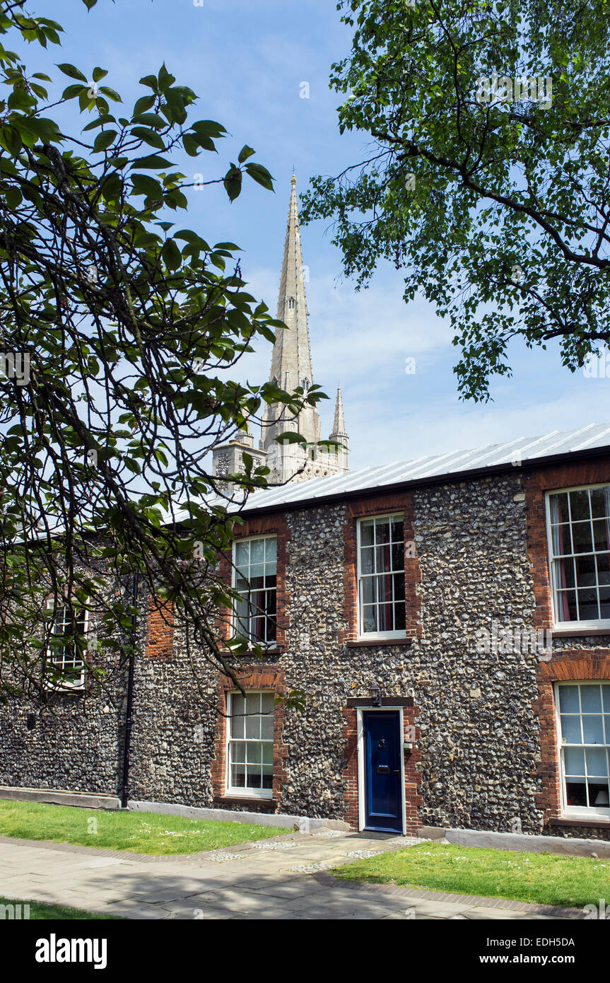Spire of Norwich Cathedral and Houses in Cathedral Close - Stock Image