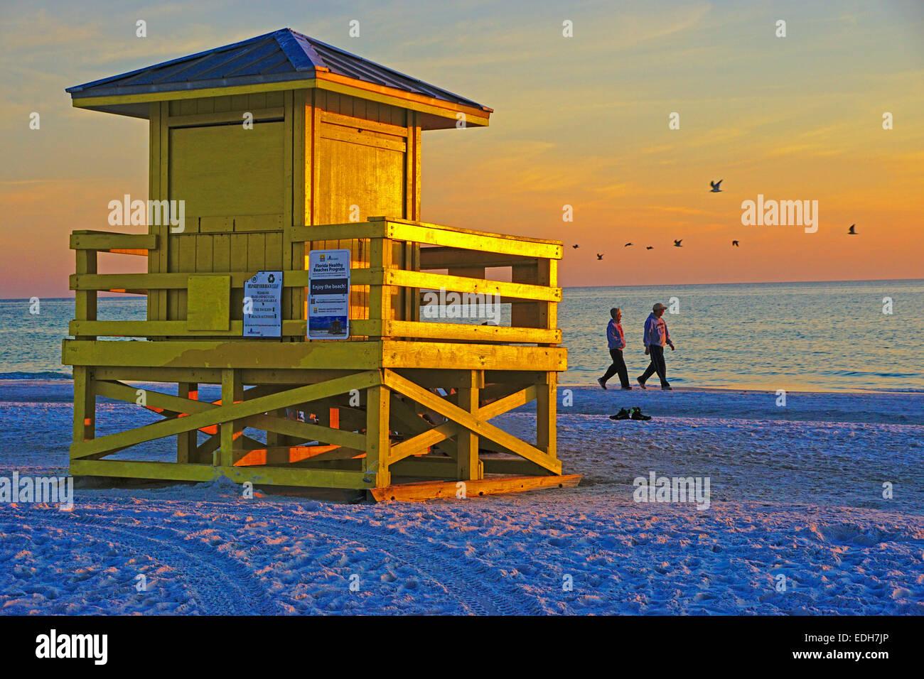 Siesta Key Beach lifeguard tower at sunset in Sarasota, Florida. - Stock Image