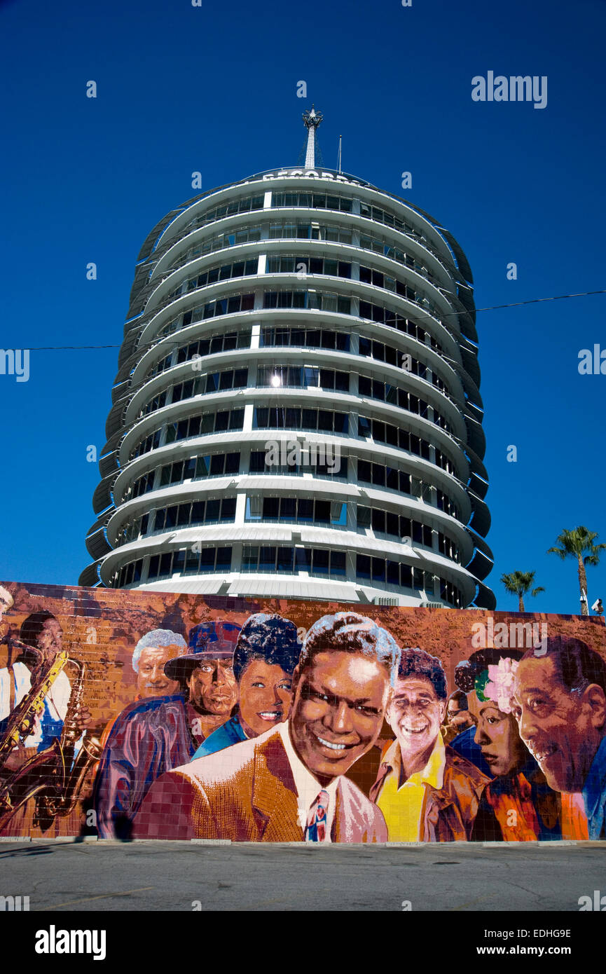 Capitol Records musicians mural outside building on Vine St. in Hollywood - Stock Image