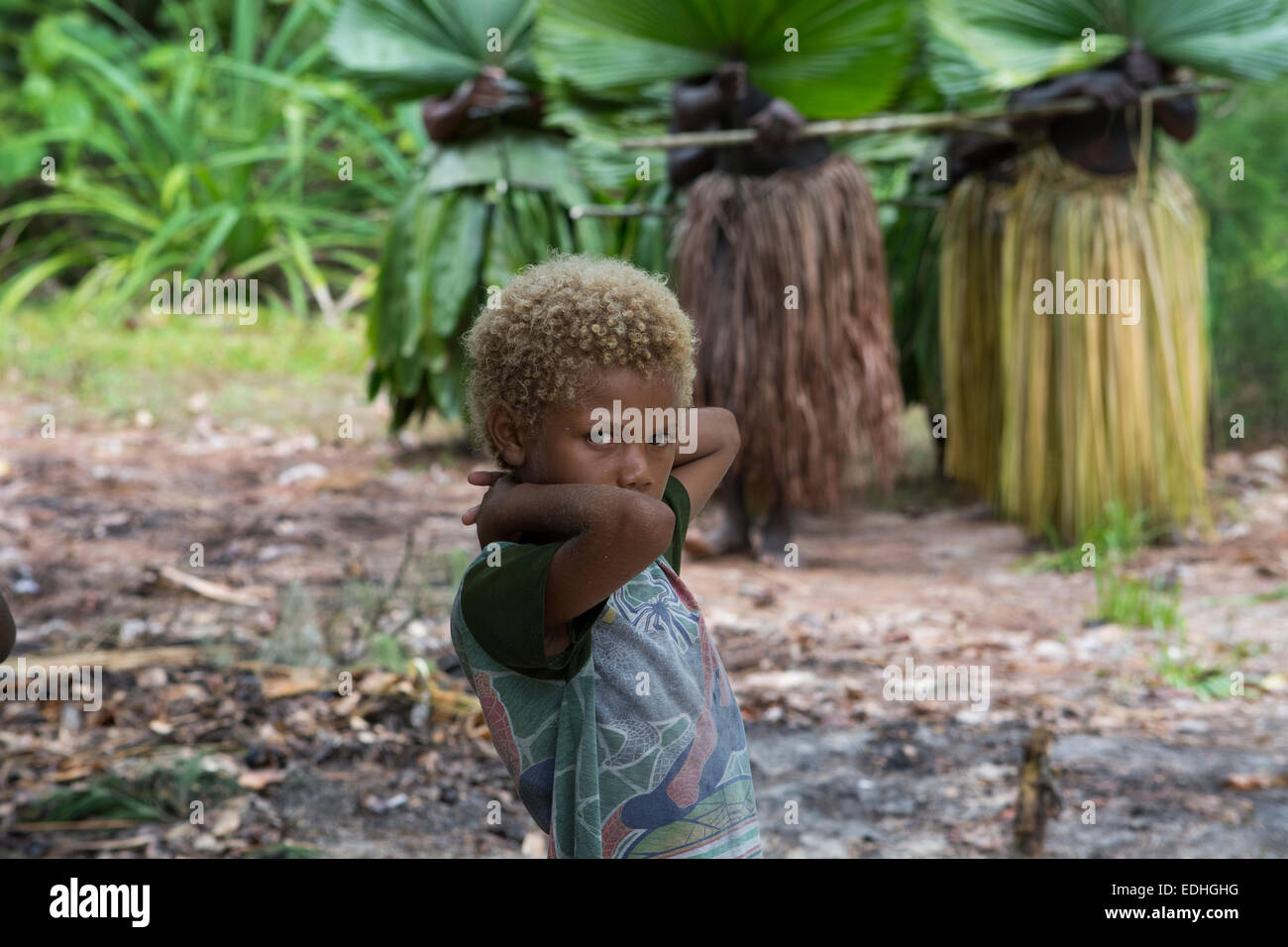 Republic of Vanuatu, Torres Islands, Loh Island. Young boy in front of ceremonial dancers in grass skirts. - Stock Image