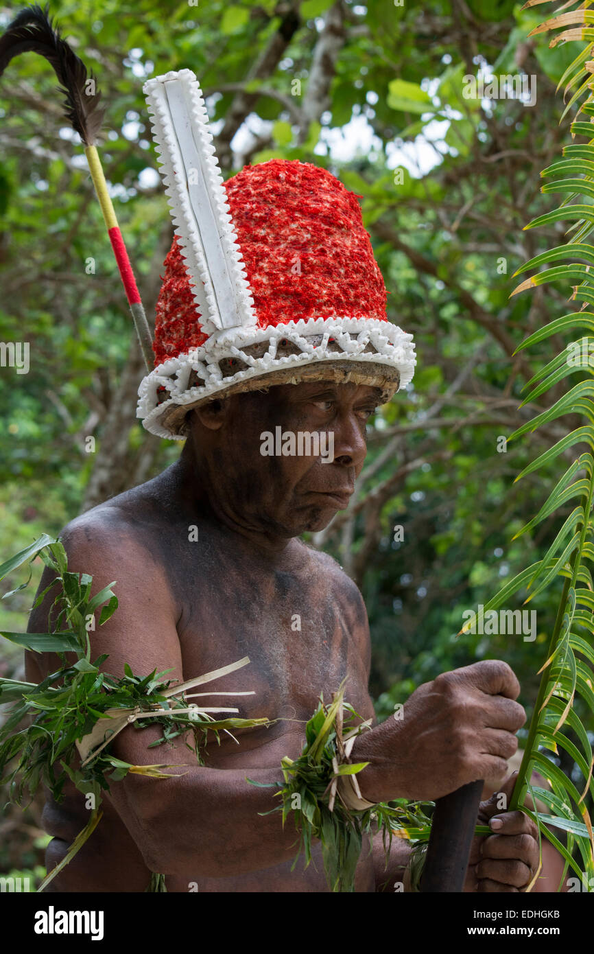 Republic of Vanuatu, Torres Islands, Loh Island. Village elder dressed in traditional headdress for 'The Chiefs - Stock Image