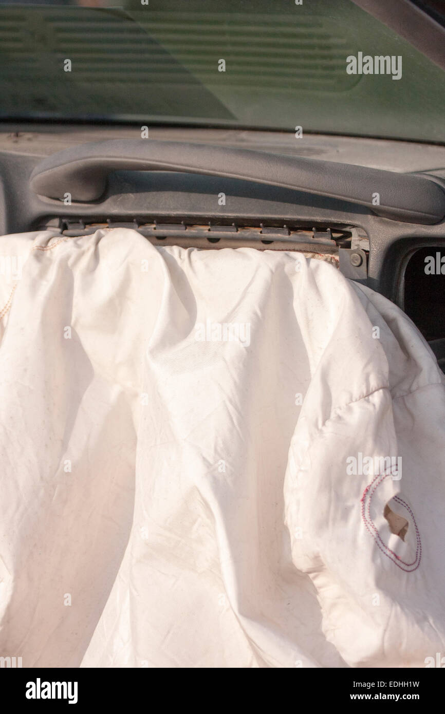 Exploded auto air bag - Stock Image