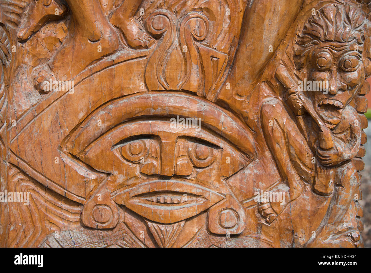 Melanesia, Solomon Islands, Guadalcanal Island, capital city of Honiara. Detail of traditional wood carving. - Stock Image