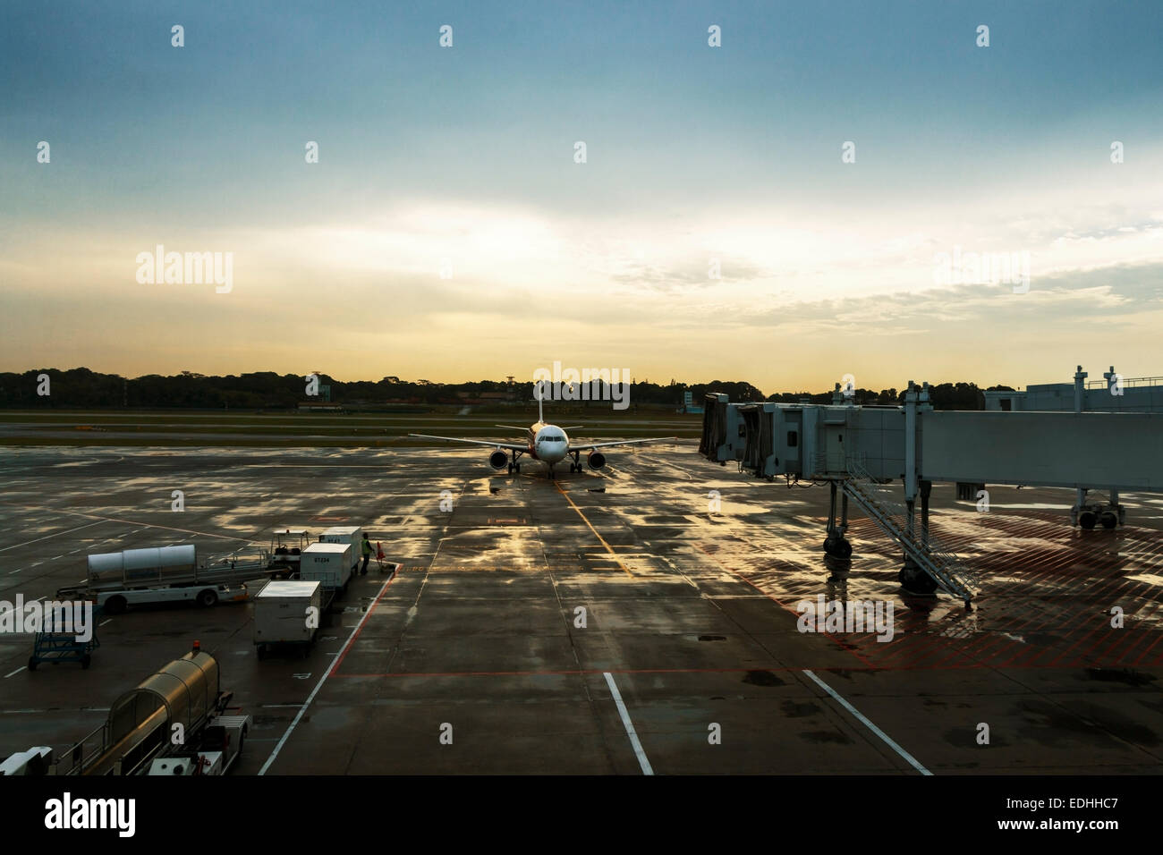 Plane arrival at Changi Airport - Stock Image