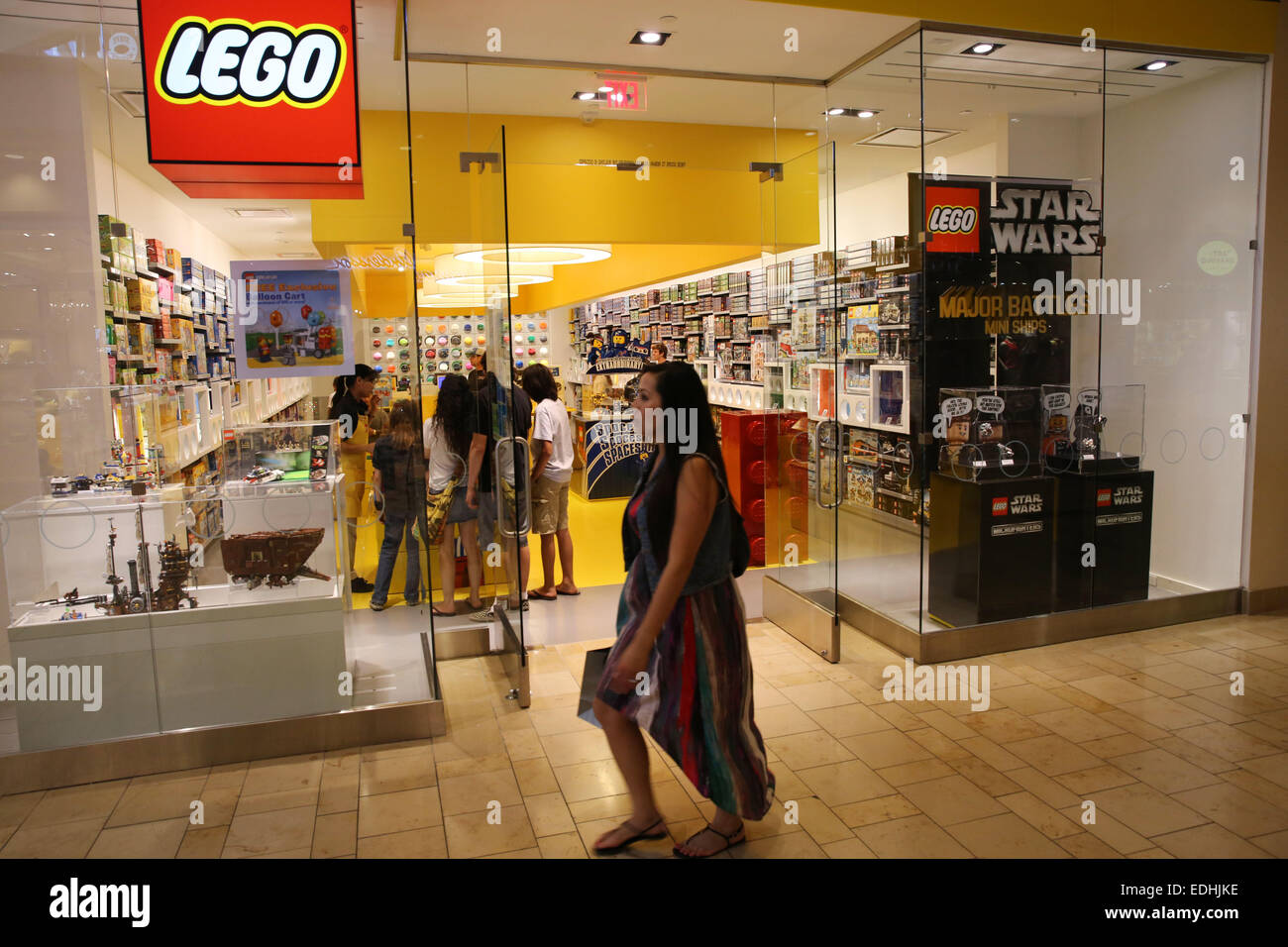 Mission Viejo, California, USA. 08th June, 2014. The Lego store front in Shops at Mission Viejo mall. Lego is a - Stock Image