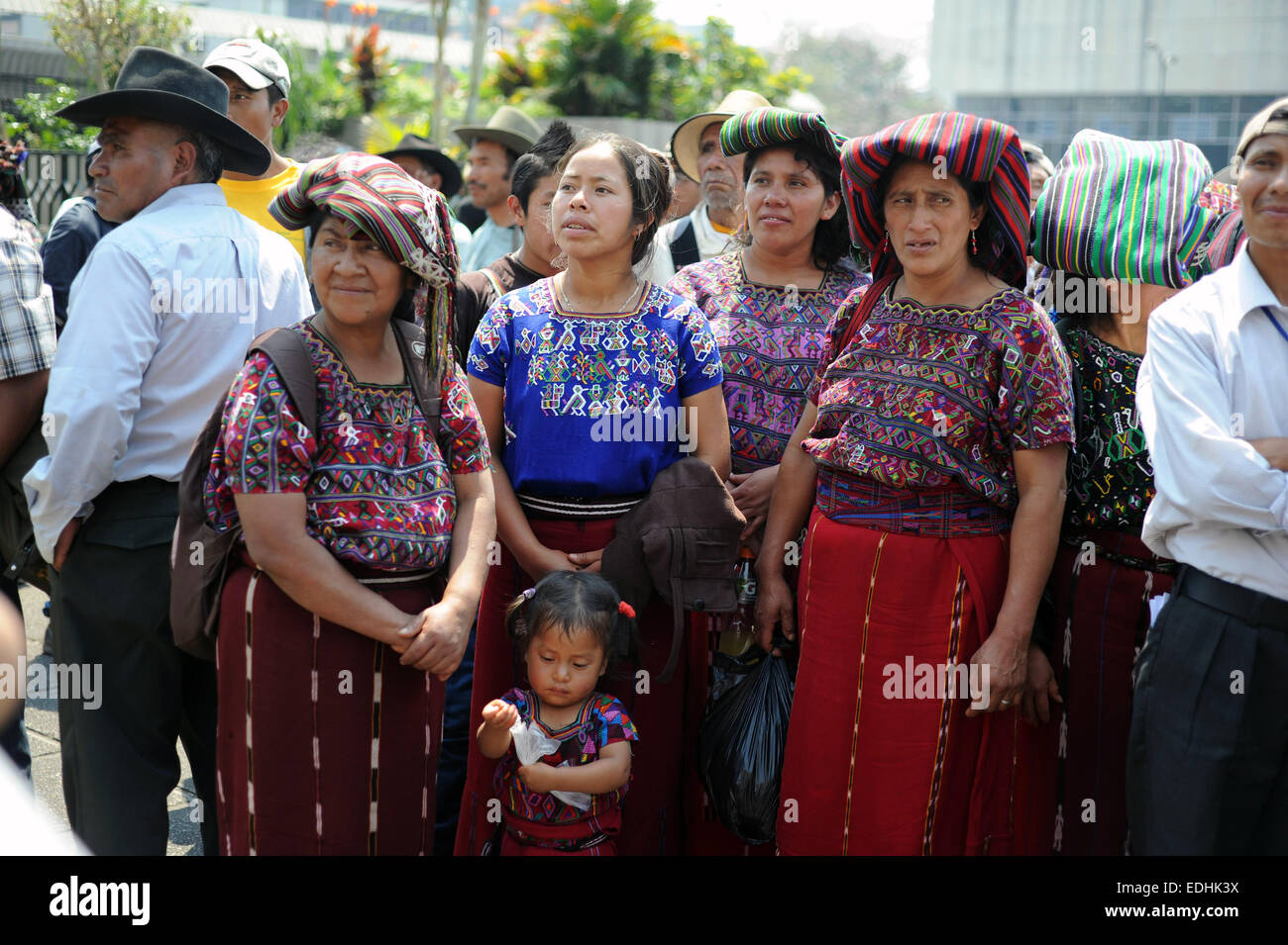 Maya Ixil people seen outside the court as ex-dictator Rios Montt Genocide trial begins in Guatemala City in March - Stock Image