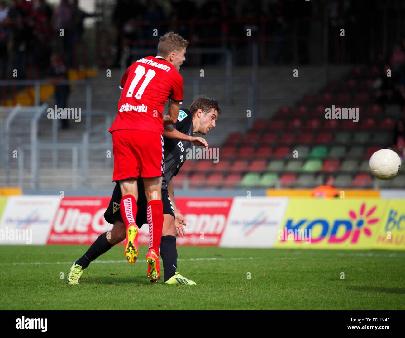 sports, football, Regional League West, 2014/2015, Rot Weiss Oberhausen versus Alemannia Aachen 0:0, Stadium Niederrhein - Stock Image