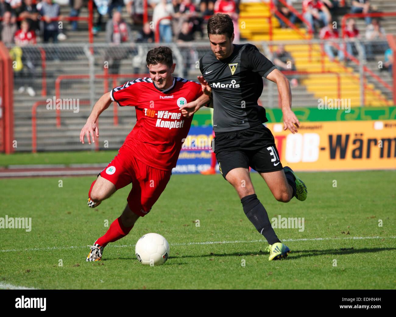 sports, football, Regional League West, 2014/2015, Rot Weiss Oberhausen versus Alemannia Aachen 0:0, Stadium Niederrhein Stock Photo
