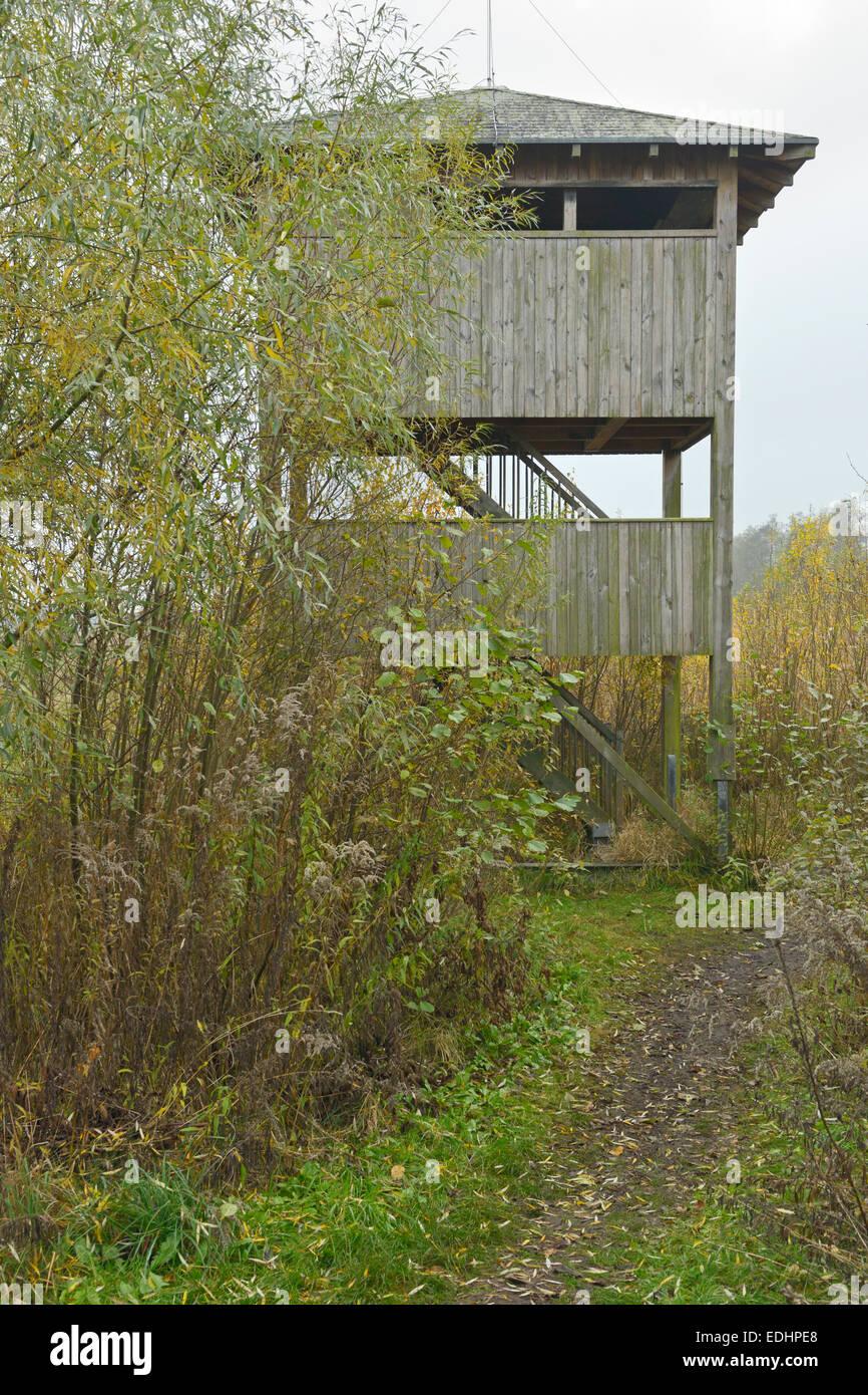 birdwatching tower near Stangenhagen, Trebbin , District Teltow-Flaeming, Brandenburg, Germany - Stock Image
