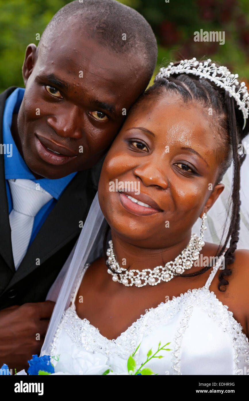 Bride and groom at wedding reception, Greater Accra, Ghana, Africa Stock Photo