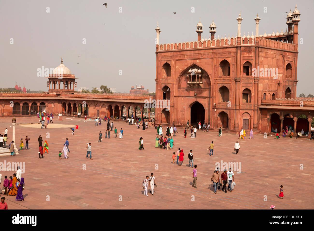 Courtyard of the Friday Mosque Jama Masjid, Delhi, India - Stock Image