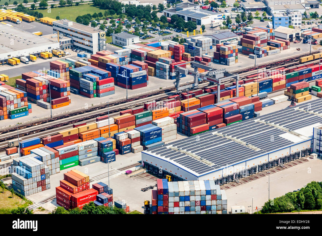 Aerial view, Umschlagbahnhof, logistics center, Regensburg, Upper Palatinate, Bavaria, Germany - Stock Image