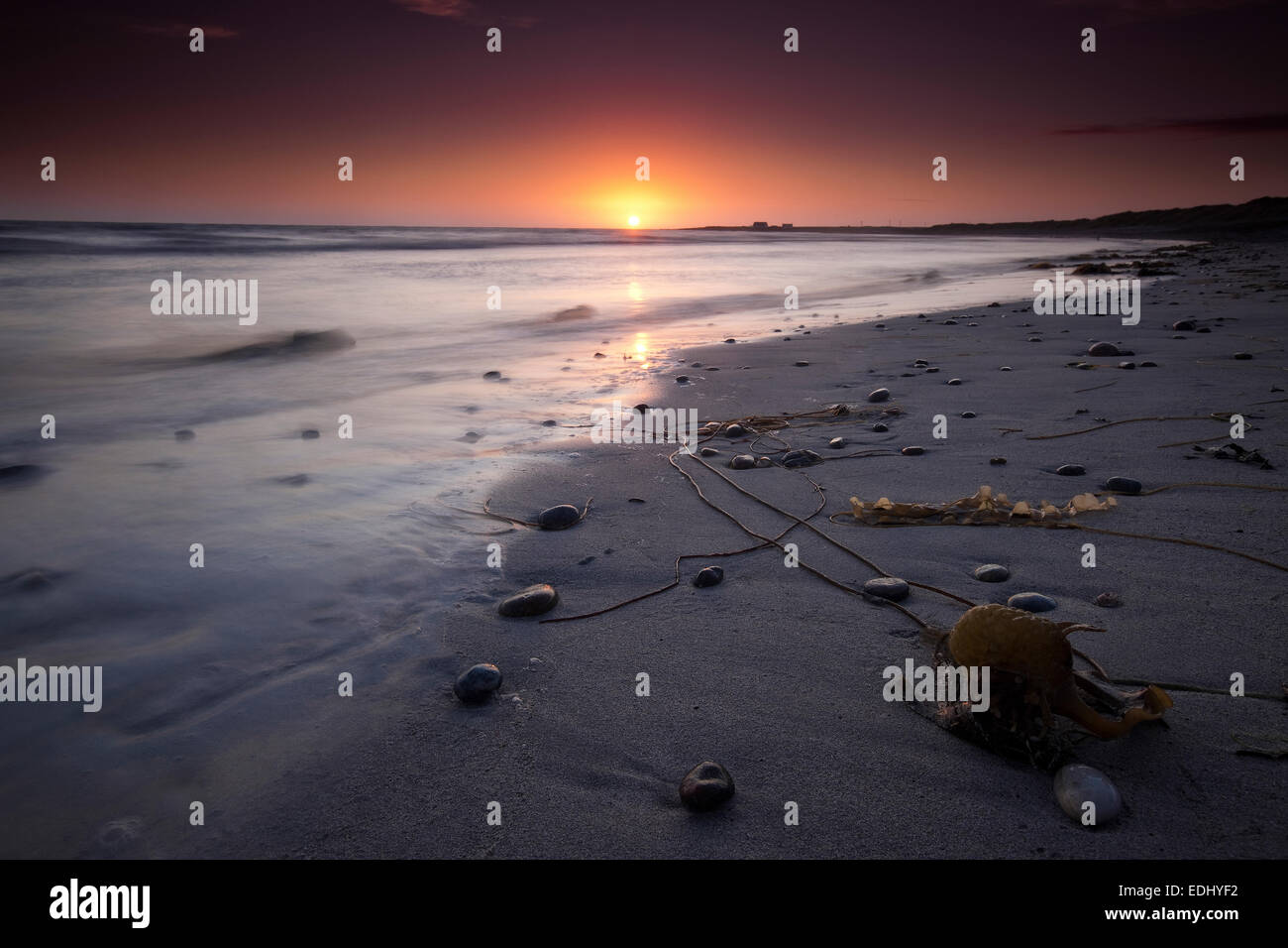 Sunset, beach, Isle of Barra, Outer Hebrides, Scotland, United Kingdom - Stock Image