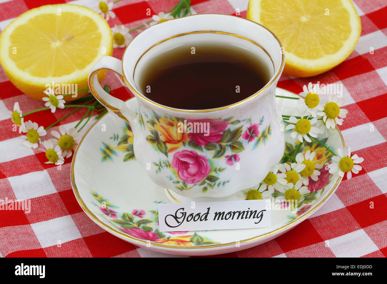 Good Morning Card With Cup Of Tea Stock Photo 77227513 Alamy