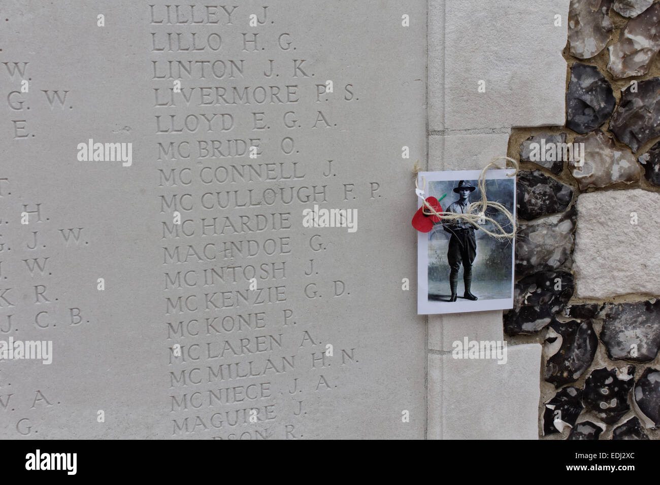 Picture of a killed soldier of the great war at Tyne Cot Cemetary in Zonnebeke, Belgien. - Stock Image