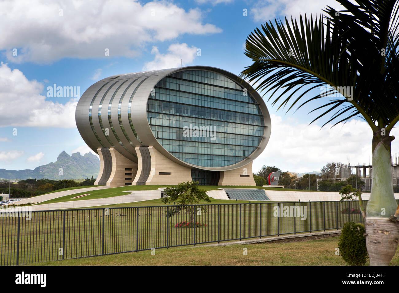 Mauritius, Quatre Bornes, landmark oval Mauritius Commercial Bank building - Stock Image