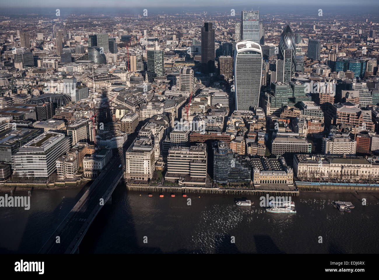 Aerial view of the City of London with Tower 42, 20 Fenchurch Street (aka The Pint), 122 Leadenhall Street (aka - Stock Image