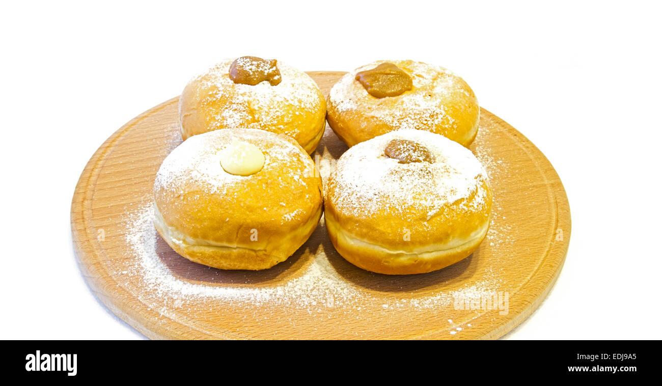 Hanukkah doughnuts - Traditional jewish holiday food. - Stock Image