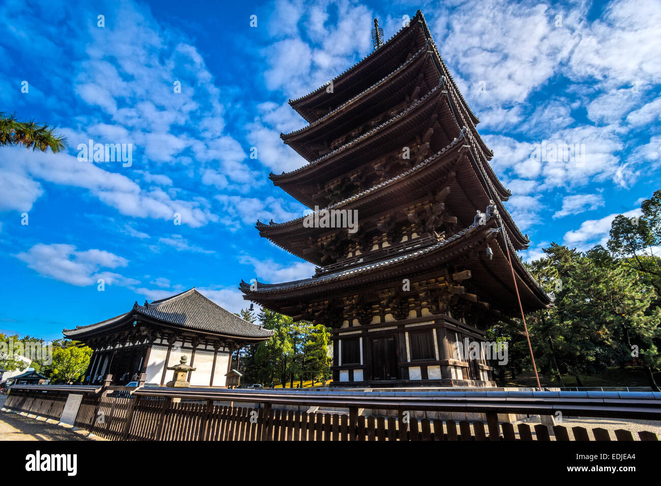 Kofuku-ji wooden tower in Nara, Japan. One of the eight Unesco world heritage sites in Nara. - Stock Image