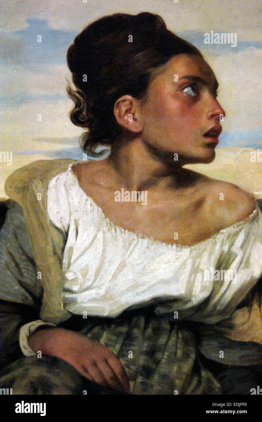 Eugene Delacroix (1798-1863). French Romantic painter. Orphan girl at the cemetery, 1824. Louvre Museum. Paris. France. Stock Photo