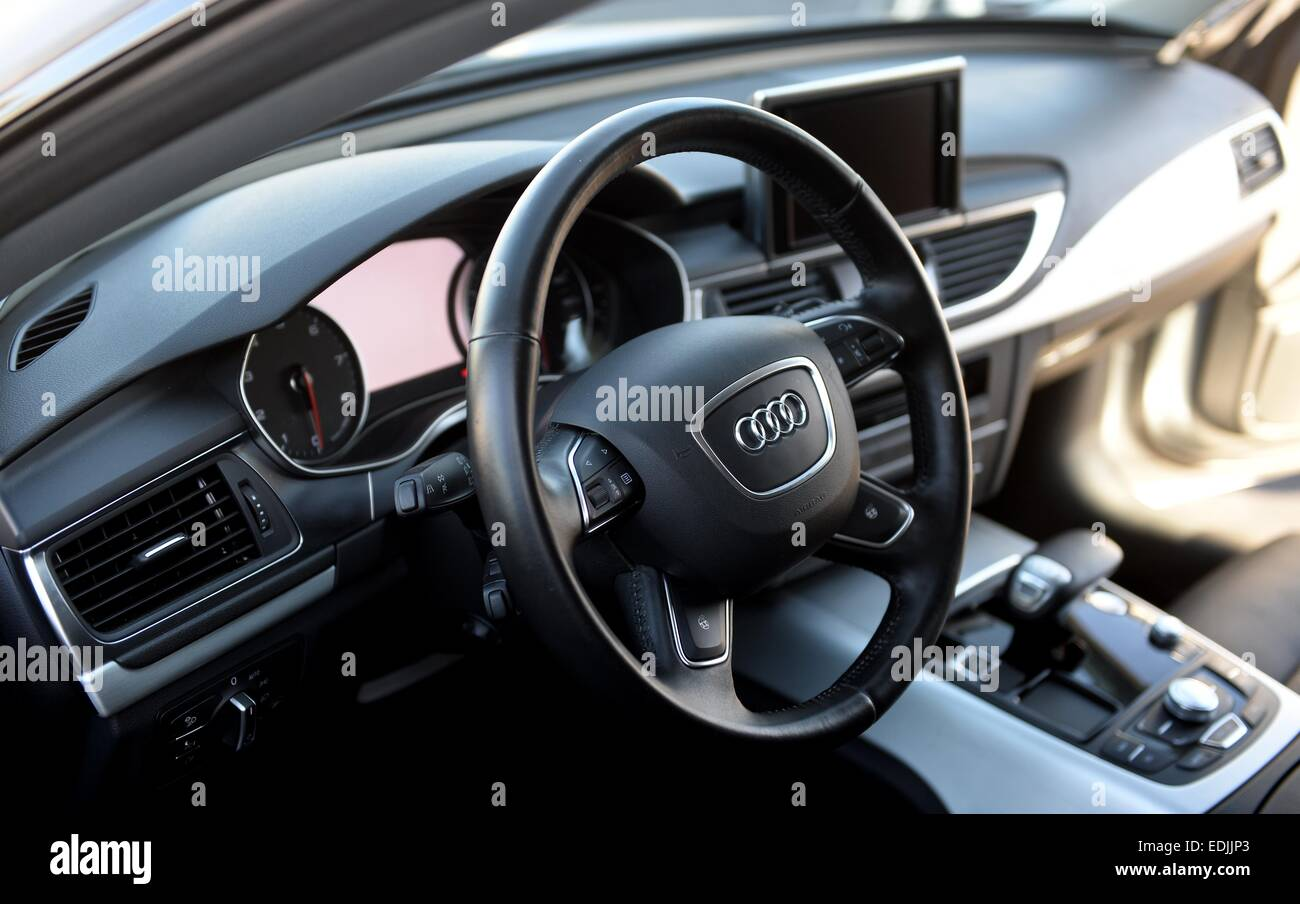 A View Of The Interior Cockpit Of A Piloted Audi A7 Car