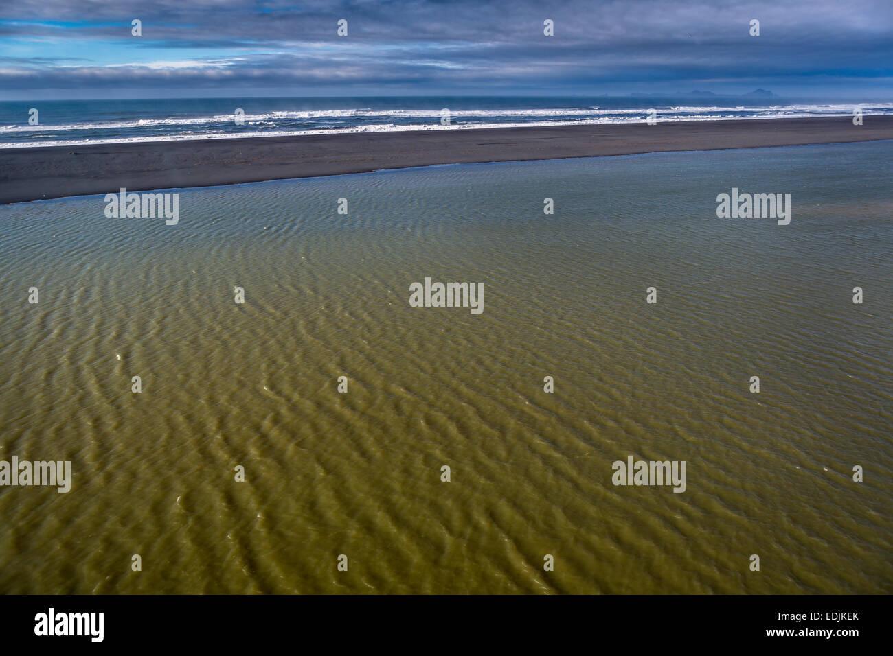 Sandbar, Markarfljotsaurar outwash plain, South Coast, Iceland - Stock Image