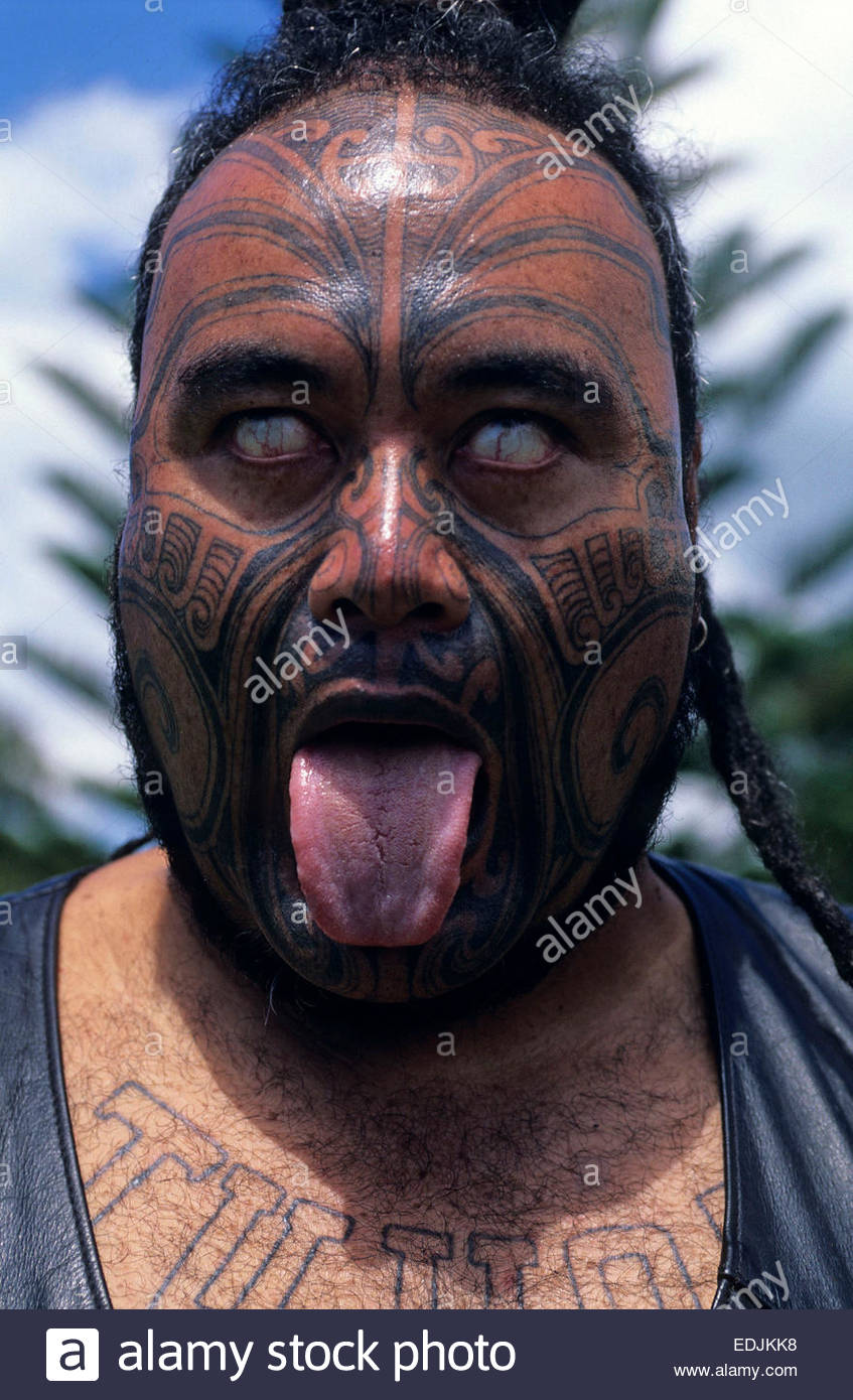 Portrait Of A Maori Warrior With Tattoo. New Moko, North