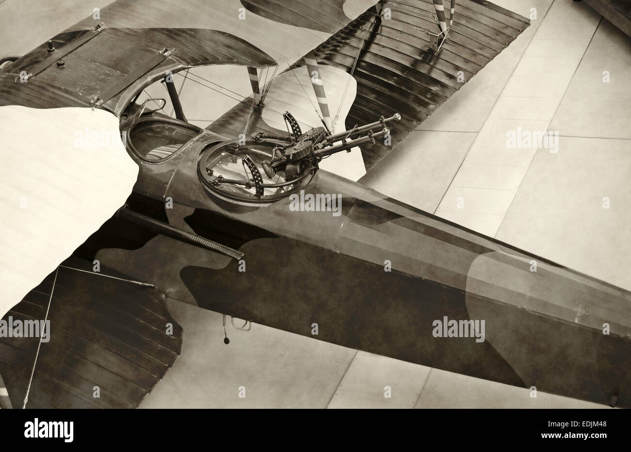 World War I era military airplane stained black and white - Stock Image