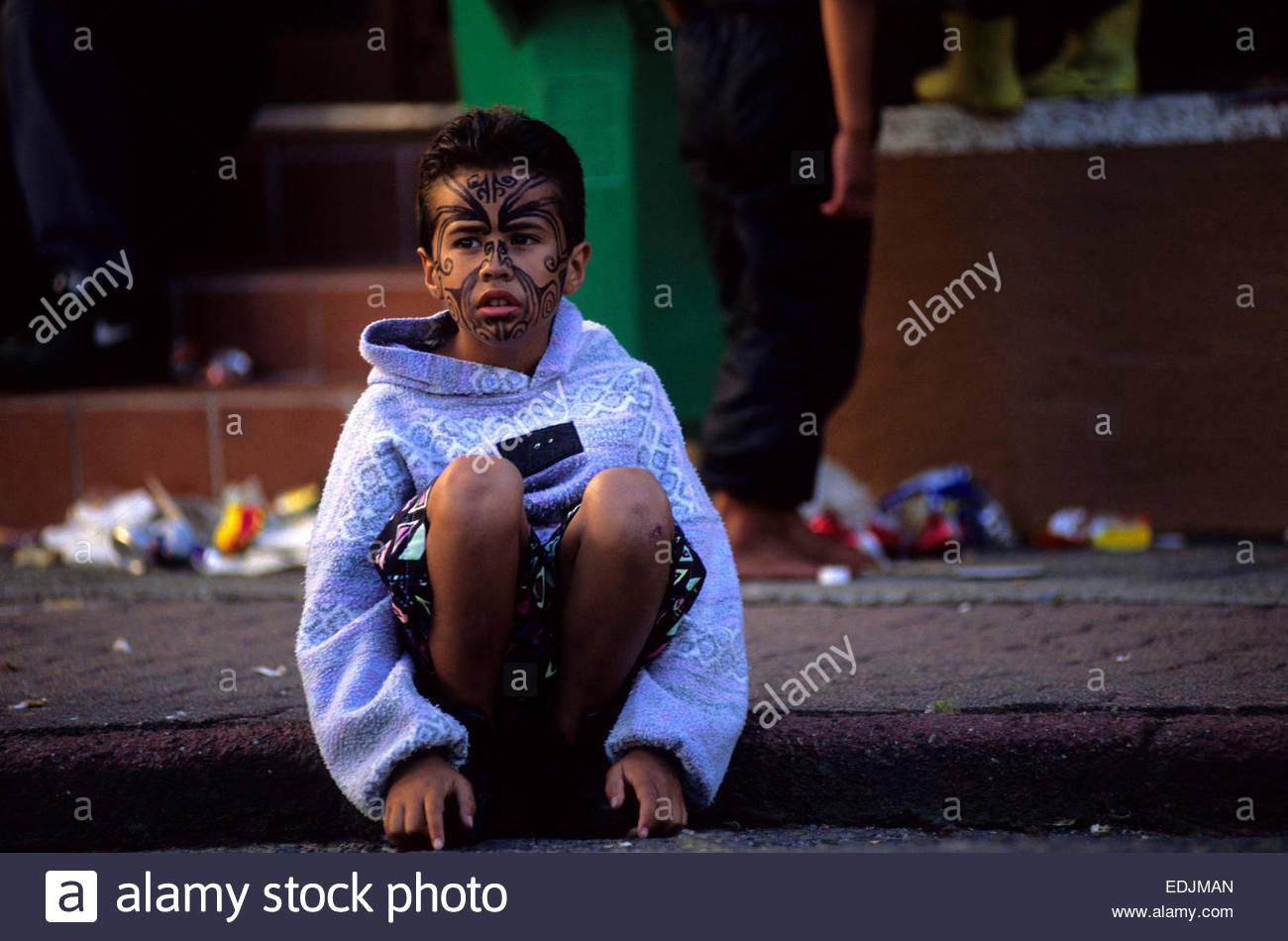 Young Maori boy, Rotorua, North Island, New Zealand. - Stock Image