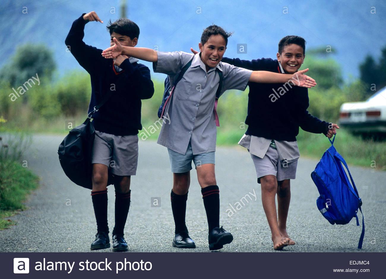 Young Maori schoolboys, Kura Kaupapa school, North Island, New Zealand. - Stock Image