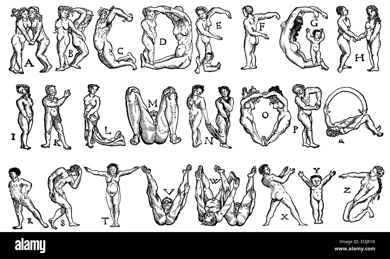 Alphabet from human figures as letters, 16th century, Germany