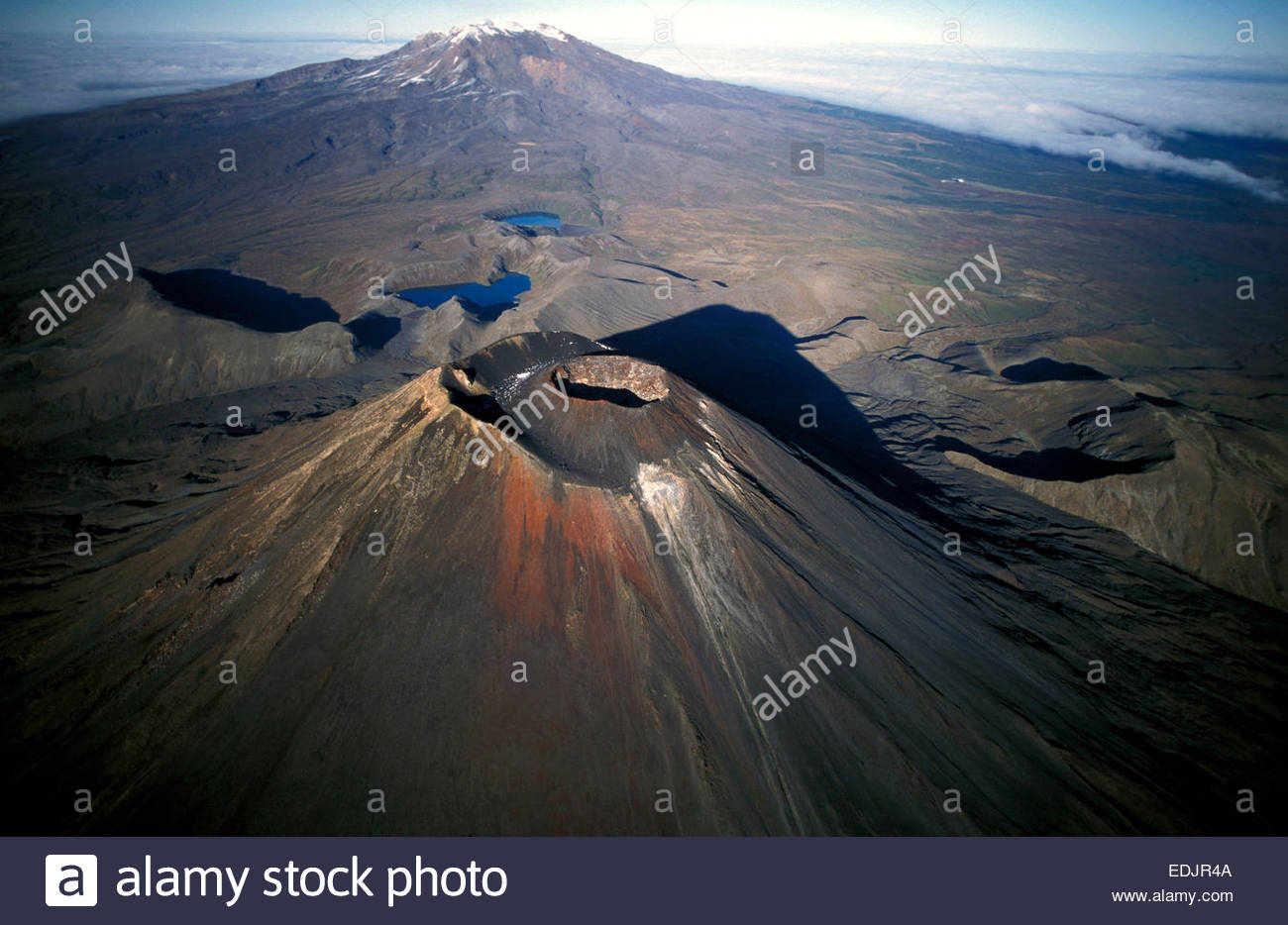 Ngauruhoe and Ruapehu volcanoes. Tongarori National Park, North island, New Zealand. - Stock Image