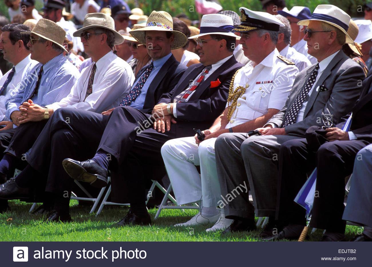 Officials during Celebration of the Waitangi Treaty, Waitangi Day, North Island, New Zealand - Stock Image