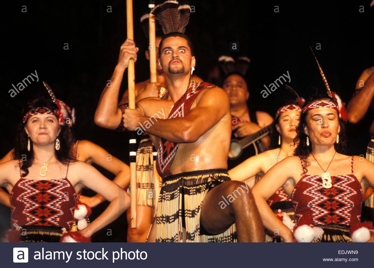 Maori dancers from Arawa tribe at Waitangi. Stock Photo