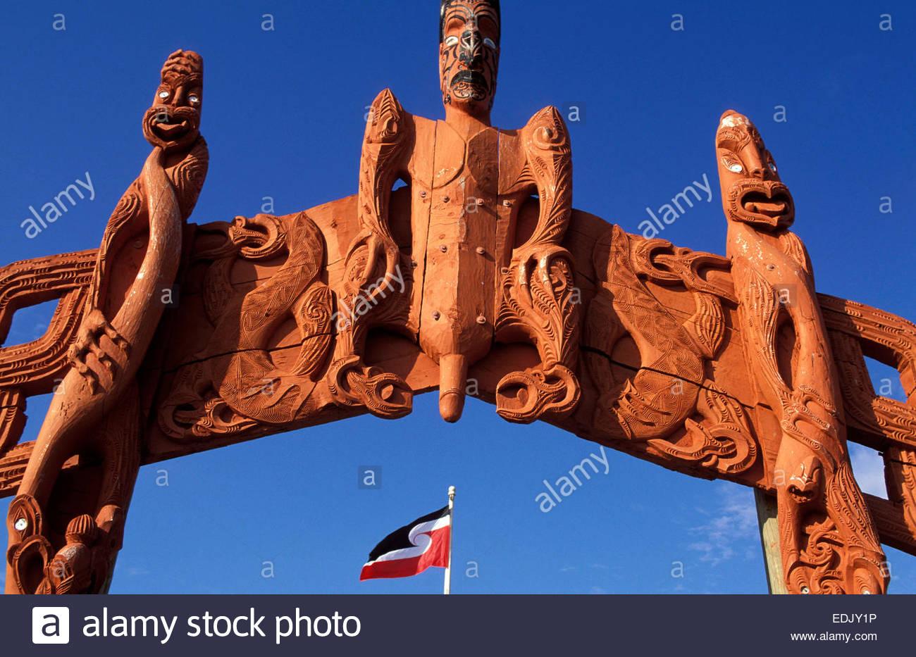Maori sacred sculpture, North Island, New Zealand. - Stock Image