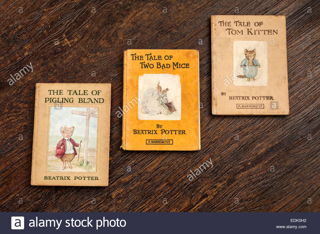 Beatrix Potter Books - The Tale of Pigling Bland, The Tale of Two Bad Mice, The Tale of Tom Kitten - Stock Image