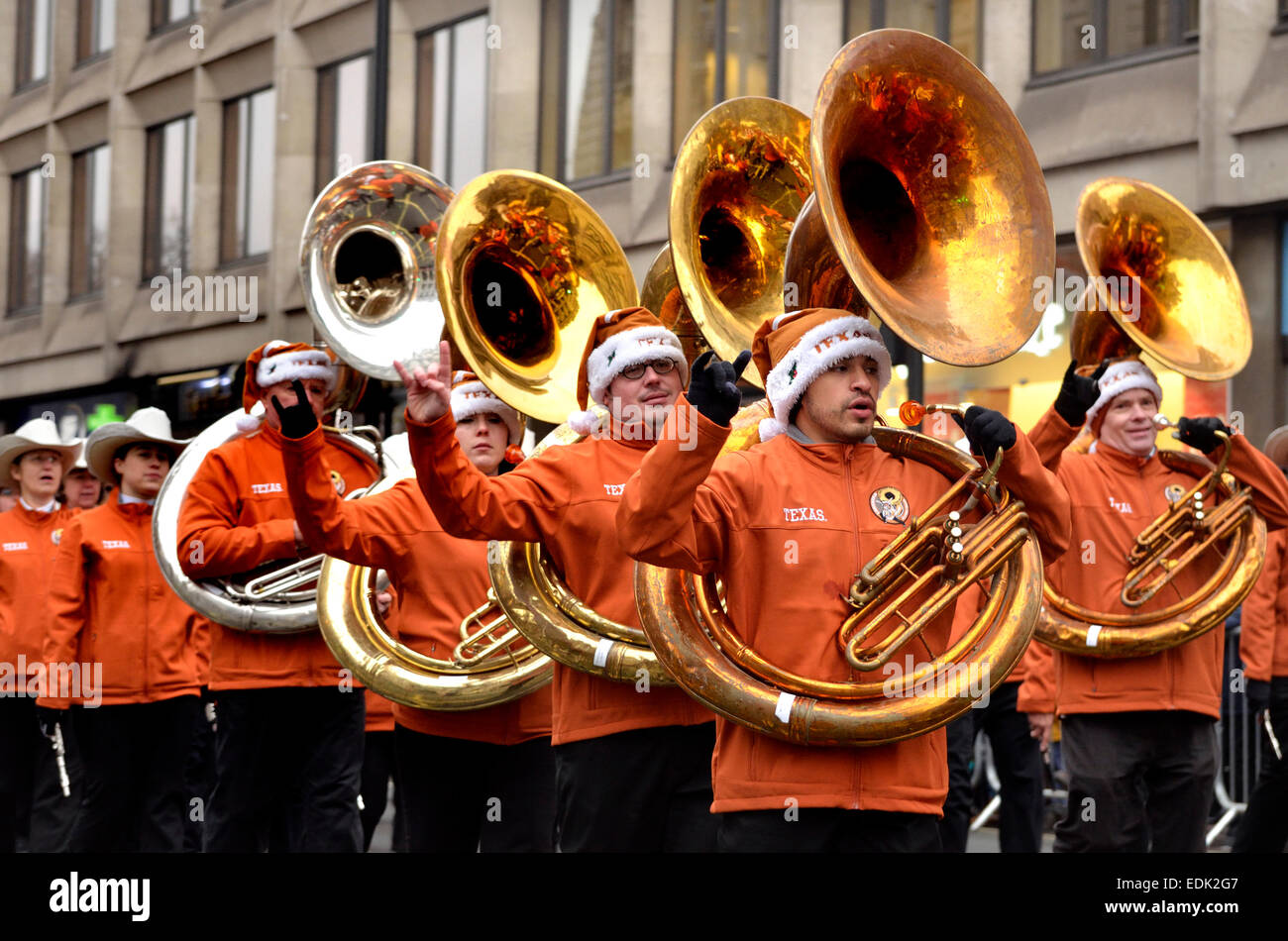 London, 1st January. New Year's day Parade from Piccadilly to Parliament Square. University of Texas Longhorn - Stock Image