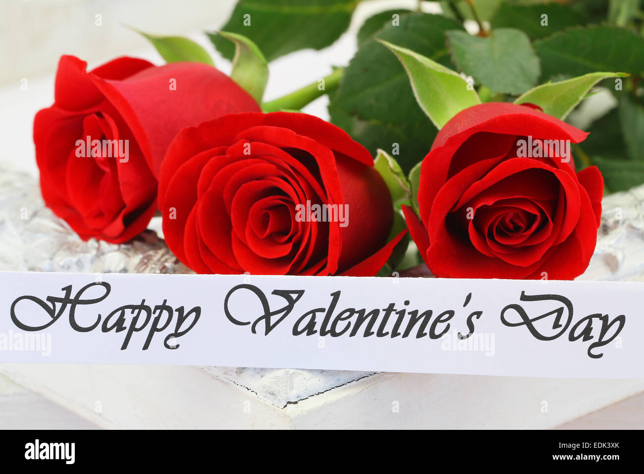 Happy Valentines Day Card With Three Red Roses Stock Photo