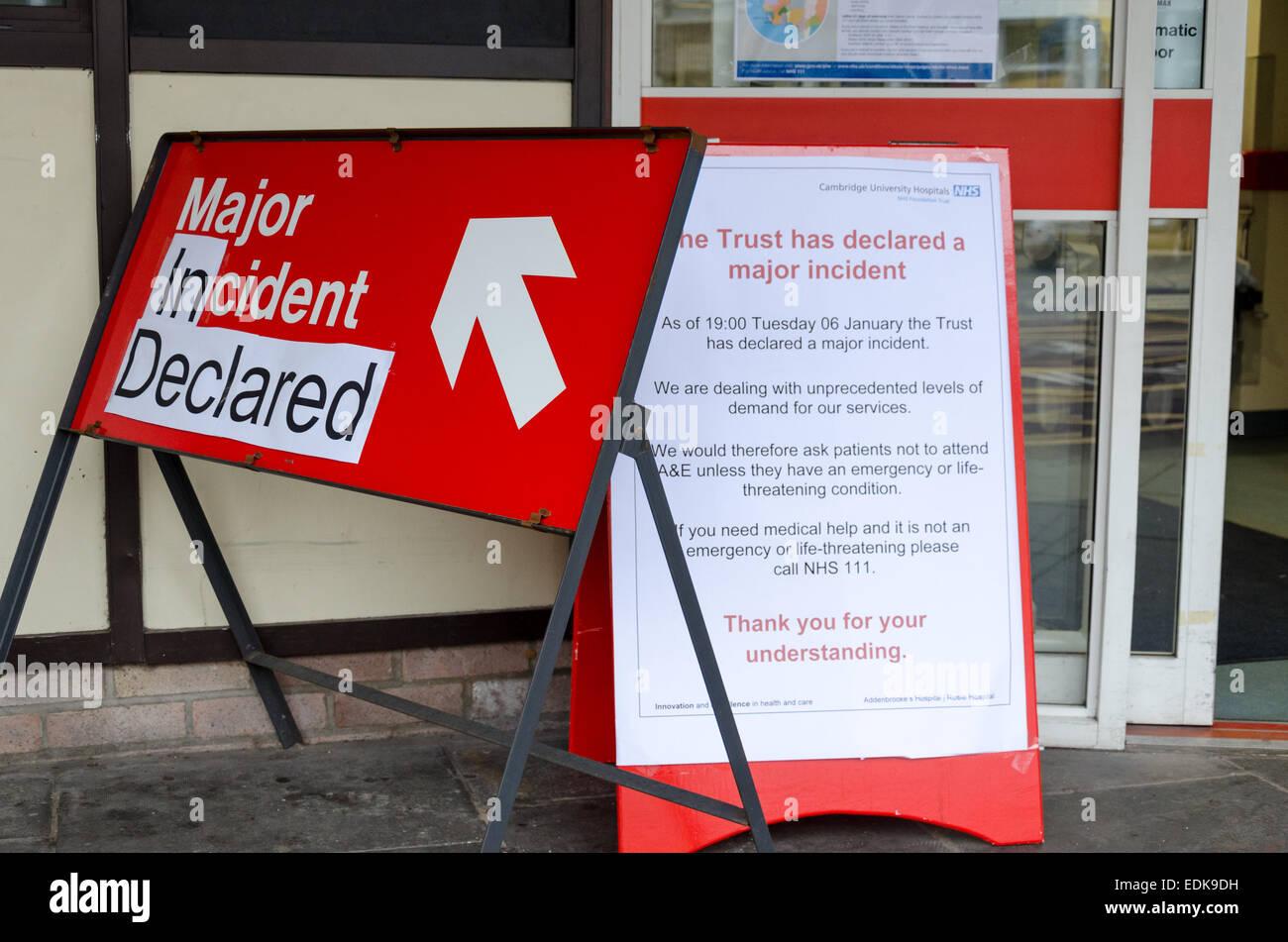 Major incident declared at Addenbrooke's Hospital, Cambridge, UK - Stock Image