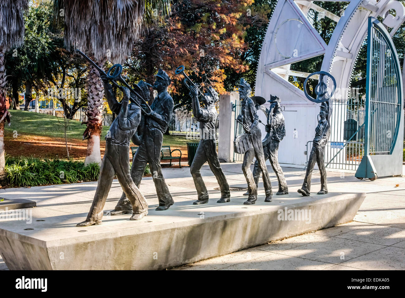 Jazz Men sculpture lead the way into the Louis Armstrong Park in New Orleans LA Stock Photo